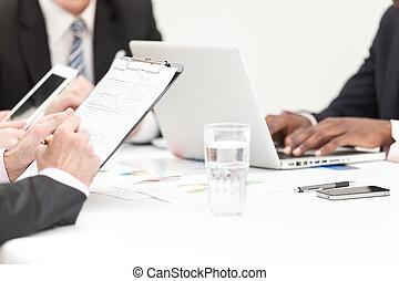 negócio, pessoas, escrita, nota, em, reunião