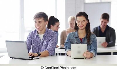 students in computer class - education, new technology and...