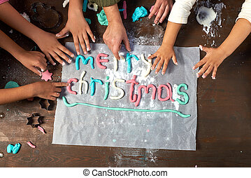 palabra, navidad, alegre