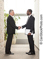 Shaking hands - Two Business men shaking hands in office