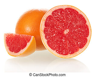 Grapefruit in a section isolated on the white