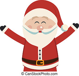 santa claus happy wave hands isolated