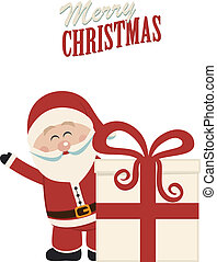 santa claus wave behind christmas gift isolated