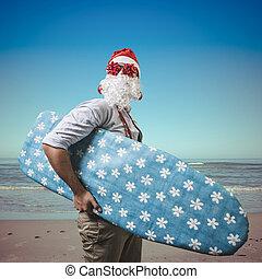 funny santa claus surfer beach