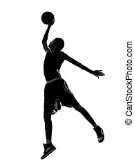 basketball player dunking silhouette - one young man...