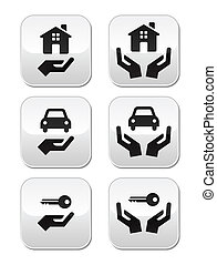 Home, car, keys with hands buttons