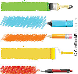 Vector paint icon set - Brushes, marker, pencil, pen