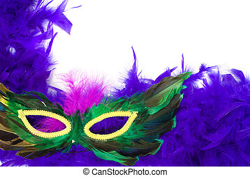 Closeup Feathered Mask - Closeup view of a feathered...