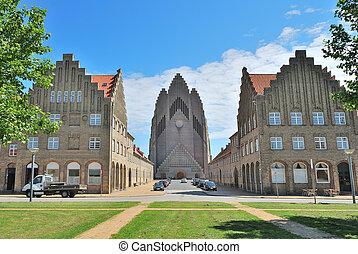 Copenhagen, Denmark Grundtvigs Church - Copenhagen, Denmark...