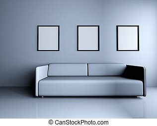 Sofa and blank picture frames