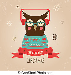 Vector Illustration of Owl, Merry Christmas Card - Vector...
