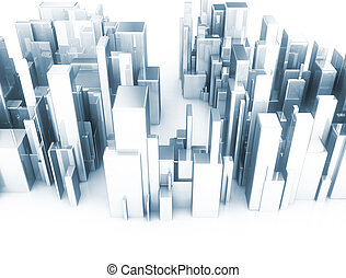 Abstract 3d city scape model