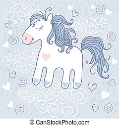 Cute horse - Greeting card with cute horse
