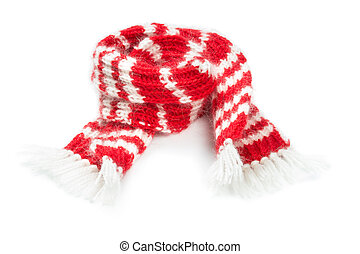 Fluffy woolen scarf isolated on white background - woolen...