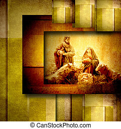 Religious Christmas Cards Nativiy Scene in golden geometric...