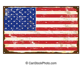American Flag Enamel Sign - American flag on rusty old...
