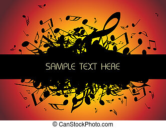 musical background with place for your text black and white...