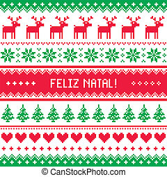 Feliz natal card pattern - Winter red and green background...
