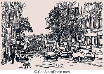 Digital drawing of city traffic, engraving style