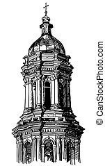historical building - digital drawing of historical...