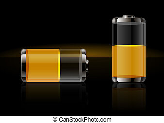 Glossy transparent battery icons