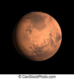 Planet Mars - A rendering of the Planet Mars on a clean...