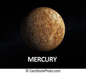 Planet Mercury - A rendering of the Planet Mercury on a...