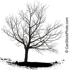 Cherry tree - Silhouette cherry tree, black drawings on a...