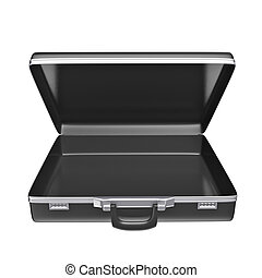 Empty black case - isolated on white background 3d rendering...