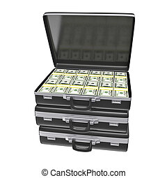 Black case with money - isolated on white background 3d...
