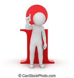 information! 3d human and an info icon. image with a work...