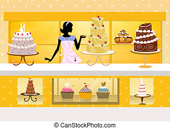 cake design - illustration of cake shop