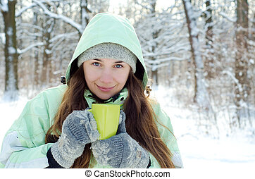 woman in winter - happy young woman in winter outdoors