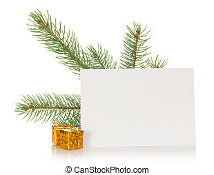 Fir-tree branch, small gift boxes and the empty card...