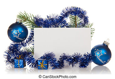 Fir-tree branch with tinsel, small gift boxes, two Christmas...