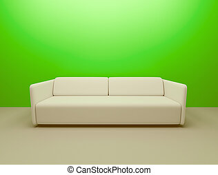 couch and green wall