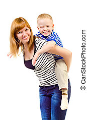 mother and child isolated on a white background