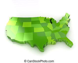 vereint, Staaten, Amerika, 3D, Landkarte