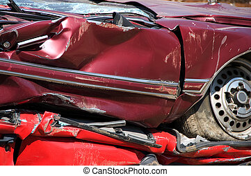 Flattened red cars - A huge pile of compressed car going to...