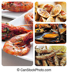 spanish seafood tapas collage - collage of different spanish...