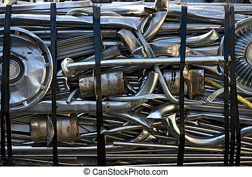 Chrome recycling - A bale of chrome parts to be recycled