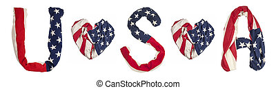 simbols made from American flag - American flag isolated on...