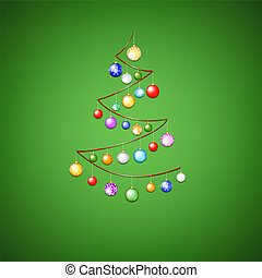 Cristmas ribbon tree with baubles on green background