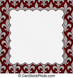 Red and Gray Fleur De Lis Textured Fabric Background with...