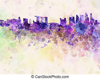 Singapore skyline in watercolor background with clipping...