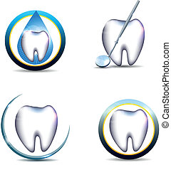 Healthy teeth symbols, various designs Beautiful and bright...