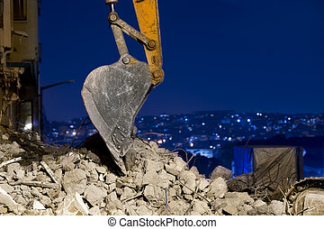 Building a new city - Close up of scoop of digger at...