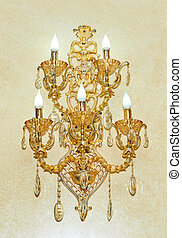 Golden wall sconces with lamps