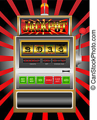 new year 2014 in slot machine vecto