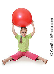 わずかしか, ボール, 女の子, 体操